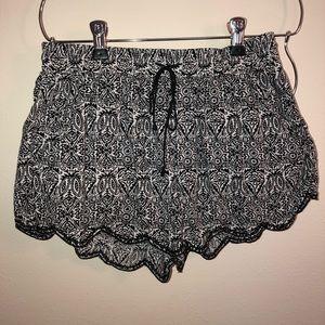 Black and white drawstring shorts
